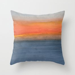 Color Field: Hawai'i Cloudy Ocean Sunset Throw Pillow
