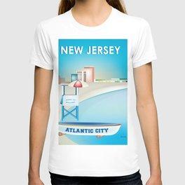 Atlantic City, New Jersey - Skyline Illustration by Loose Petals T-shirt