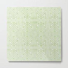 Nappy Faux Velvet Framed Wicker Repeat in Lime Green Metal Print