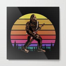 Bigfoot with electric guitar sunset retro Metal Print