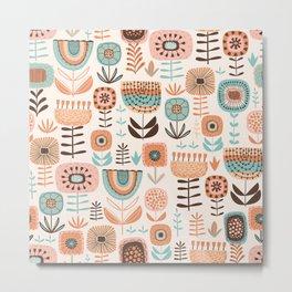 Folk floral seamless pattern Metal Print