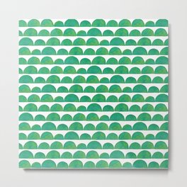 Green Ink Wash Semi Circles Metal Print