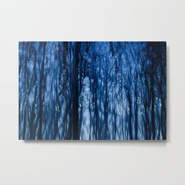 Abstract Blue Forest Metal Print