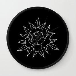 Black-and-white peony Wall Clock