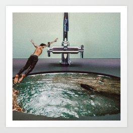 Vintage Collage Boy Jumping in Sink Art Print