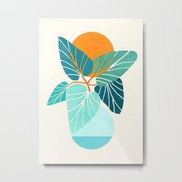 Tropical Symmetry / Retro Aqua Orange Palette Metal Print