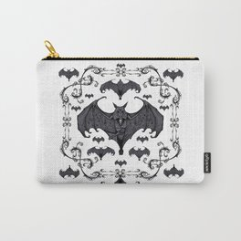 Bats and Filigree - Black and White Carry-All Pouch