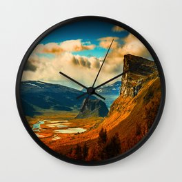 Orange Cliff Blue Sky Wall Clock