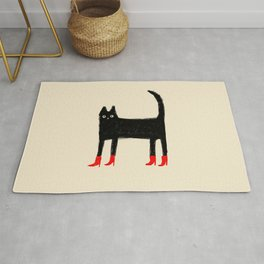 Black Cat in Red Boots Rug