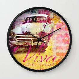 Viva Cuba retro car mixed media art Wall Clock