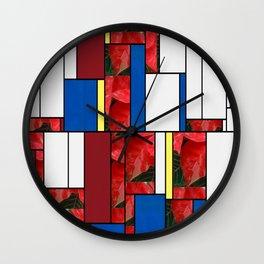 Mottled Red Poinsettia 1 Ephemeral Art Rectangles 4 Wall Clock