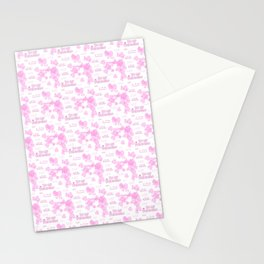 Be my Valentine. Pink seamless background with hearts and text on a white Stationery Cards