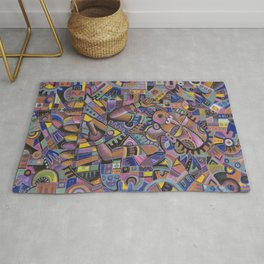 Xylophone Player 2 violet painting of musician Rug