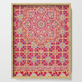 Red Pink Embroidered Mandala Serving Tray