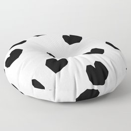Love Yourself no.2 - black heart pattern love minimal black and white illustration Floor Pillow