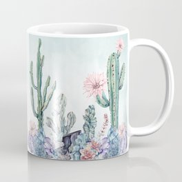 Desert Cactus Succulents + Gemstones on Sage Green Coffee Mug