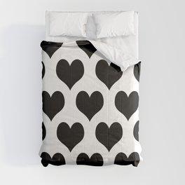 White And Black Heart Minimalist Comforters