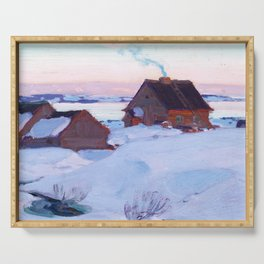 Clarence Gagnon - Ferme de St. Antoine, Baie St. Paul - Canadian Oil Painting - Group of Seven Serving Tray