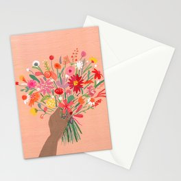 Babe with bouquet Stationery Cards