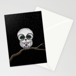 Baby Owl with Glasses and South Korean Flag Stationery Cards