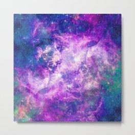 Majestic Teal Purple Starry Space Nebula Metal Print