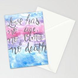 Love has no age, no limit, & no death Stationery Cards