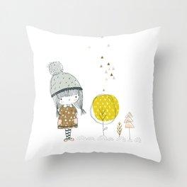 Cute whimsical girl Throw Pillow
