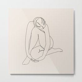Sitting Woman, Minimalist Line Art of Female Figure, Beige Metal Print