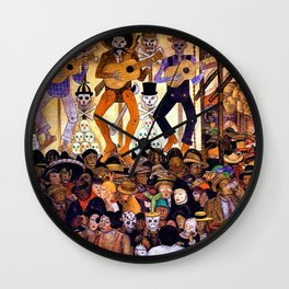 Classical Masterpiece 'Le-Jour-des-Morts' by Diego Rivera Wall Clock