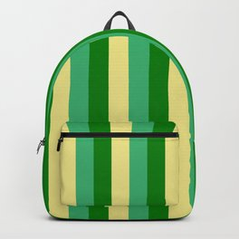 Tan, Sea Green & Green Colored Lines Pattern Backpack