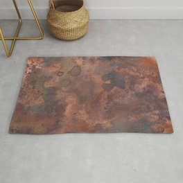 Tarnished, Stained and Scratched Copper Metal Texture Industrial Art Rug