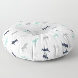 Moose pattern minimal nursery basic grey and white camping cabin chalet decor Floor Pillow