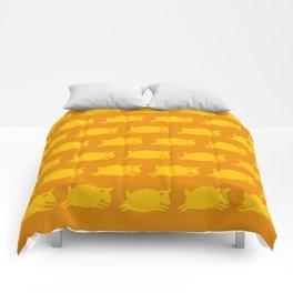 Counting Sheep. Yellow on Orange. Comforters