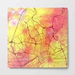 Frankfurt Germany Street Map Art Watercolor Yellow Light Metal Print