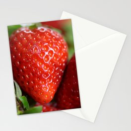 Red Strawberries Fruits Stationery Cards
