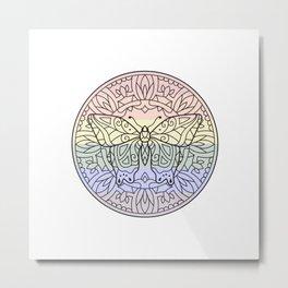 Rainbow Butterfly Mandala Metal Print