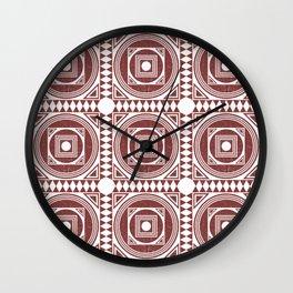Mediterranean Pattern 3 - Tile Pattern Designs - Geometric - Maroon - Ceramic Tile - Surface Pattern Wall Clock