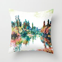 Monet: Morning On The Siene Near The Vetheuil  deep pastels Throw Pillow