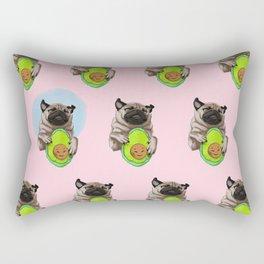 Pug and Avocado Rectangular Pillow