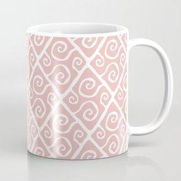Mid Century Modern Diamond Swirl Pattern Dusty Rose Coffee Mug