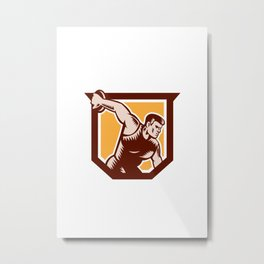Discus Thrower Shield Woodcut Metal Print