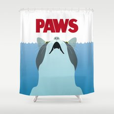 PAWS   Spoof Movie Poster Inspired By Classic Cult Horror Film JAWS Shower  Curtain
