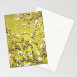 Vincent van Gogh Blossoming Almond Tree (Almond Blossoms) Gold Sky Stationery Cards