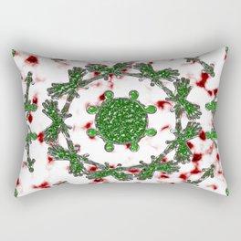 Green Red and Silver Alien Mandala Pattern Rectangular Pillow