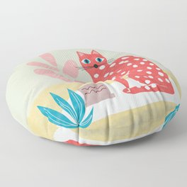 Red Dotted Cat Floor Pillow