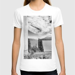 Roman Ruins, Garda, Sirmione, Italy landscape coastal black and white photograph / art photography  T-shirt