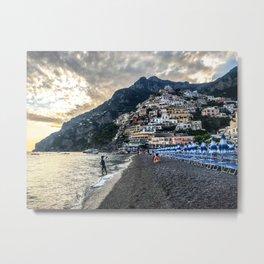 Positano seashore against cityscape Metal Print