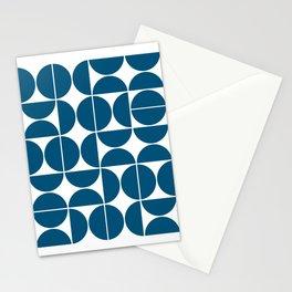 Mid Century Modern Geometric 04 Blue Stationery Cards