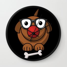 Cool and Cute Dog with clown nose, glasses and bone Carnival Design Wall Clock