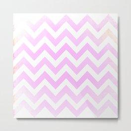 Pink Textured Chevron Pattern Metal Print
